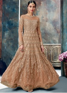 Beige Net Reception Floor Length Anarkali Suit