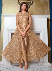 Beige Net Sequins Floor Length Anarkali Suit