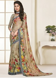Beige Party Georgette Saree
