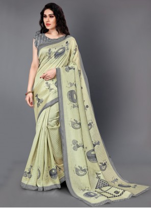 Beige Party Silk Traditional Saree