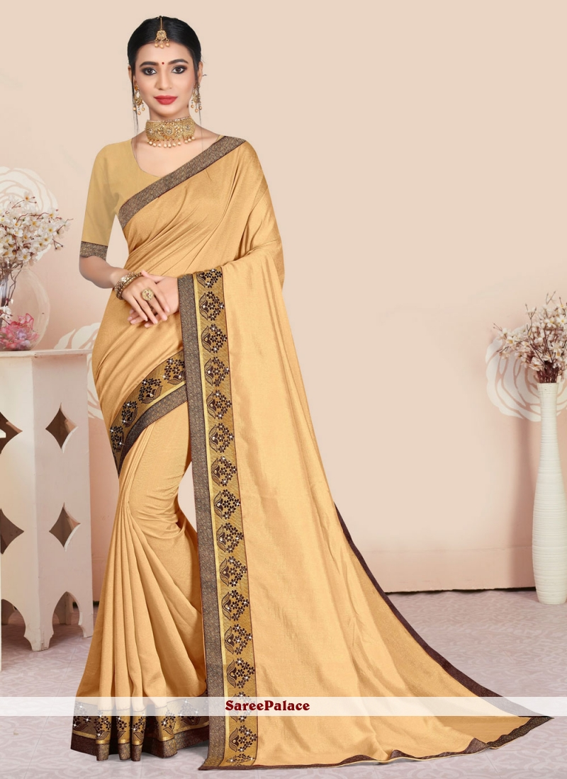 Beige Patch Border Party Traditional Saree