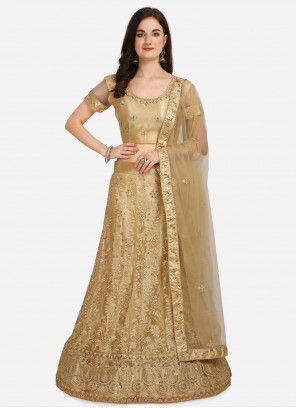 Beige Patch Border Net A Line Lehenga Choli