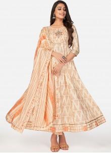 Beige Cotton Print Anarkali Suit