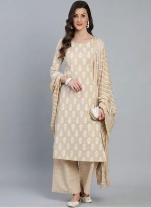 Beige Print Cotton Readymade Suit