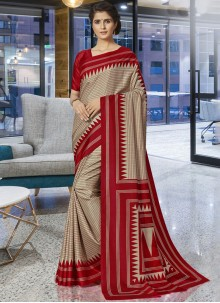 Beige Print Traditional Saree