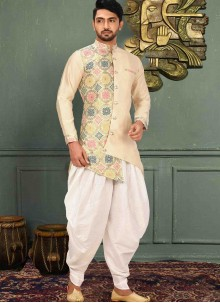 Beige Printed Art Silk Kurta Pyjama