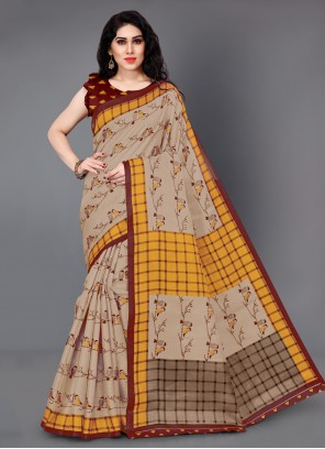 Beige Printed Festival Traditional Saree