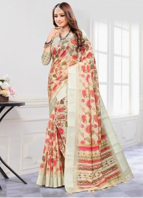 Beige Cotton Digital Printed Saree
