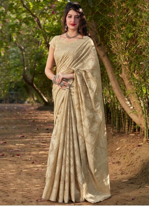 Beige Printed Traditional Saree