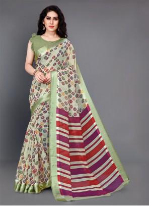 Beige Printed Trendy Saree