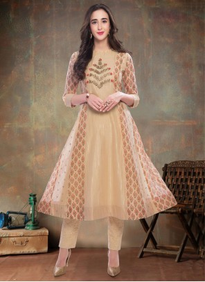 Beige Reception Chanderi Party Wear Kurti