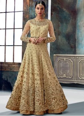 Beige Reception Floor Length Anarkali Suit
