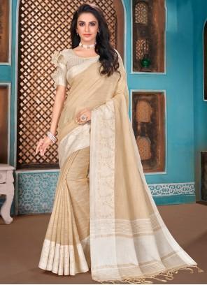 Beige Reception Traditional Designer Saree