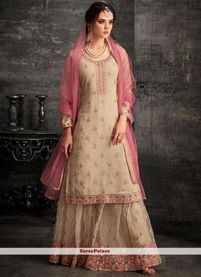 5be465f3aa Buy Beige Resham Festival Designer Pakistani Suit Online