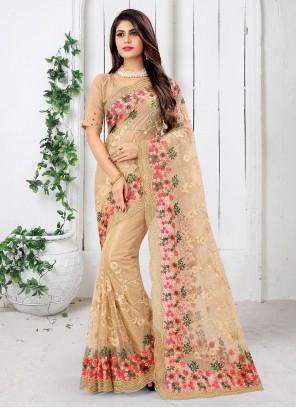 Beige Resham Net Designer Saree