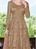 Beige Resham Net Floor Length Anarkali Suit