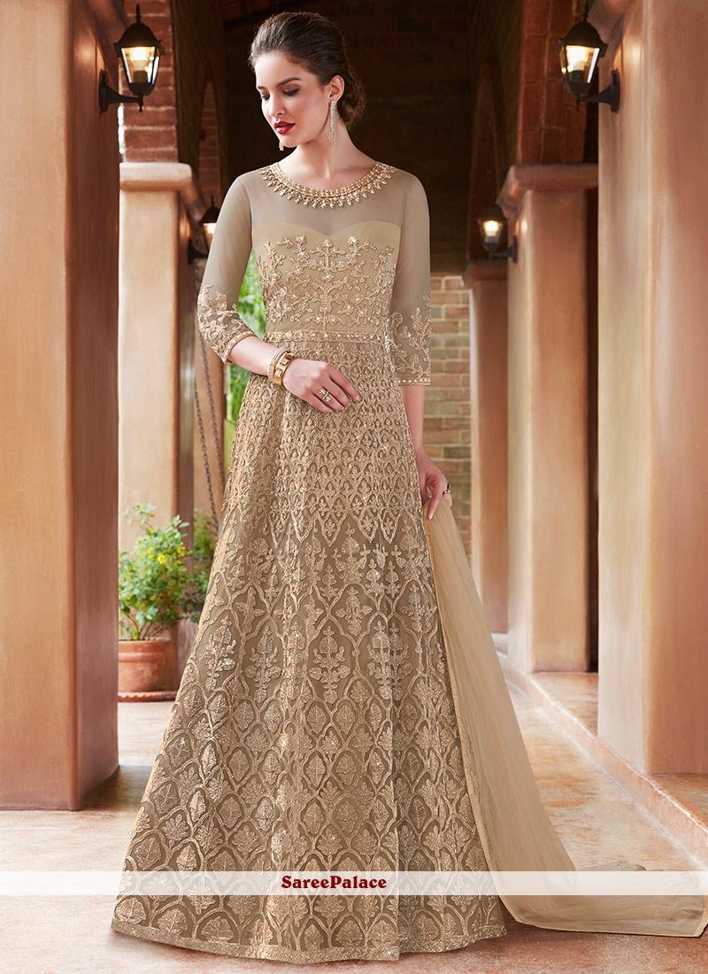 e9687636b8 Buy Beige Resham Net Floor Length Anarkali Suit Online