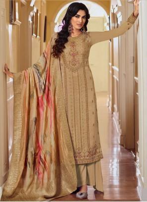 Beige Resham Embroidered Salwar Kameez