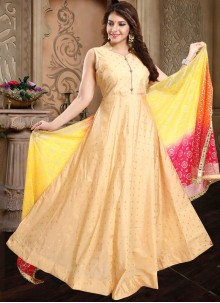 Beige Resham Tafeta Silk Readymade Salwar Kameez