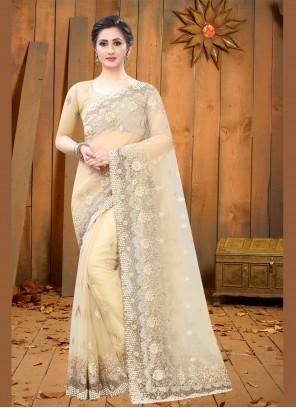 Beige Resham Trendy Saree