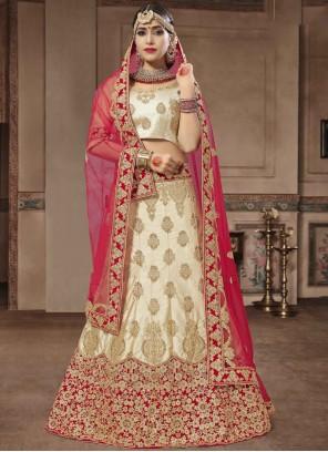Beige Resham Wedding Lehenga Choli