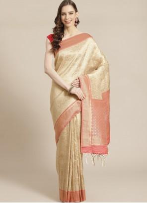Beige Sangeet Designer Traditional Saree