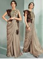 Beige Sequins Party Designer Saree