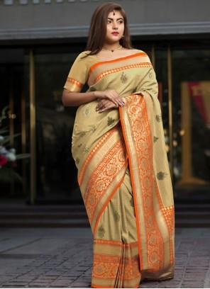 Beige Silk Classic Saree