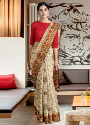 Beige Silk Designer Traditional Saree