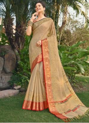 Beige Silk Embroidered Traditional Designer Saree