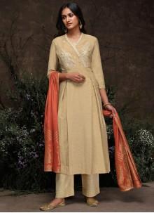 Beige Silk Embroidered Trendy Pakistani Salwar Kameez