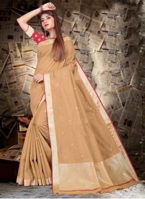 Beige Silk Festival Contemporary Saree