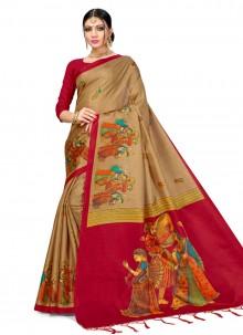 Beige Silk Party Designer Saree