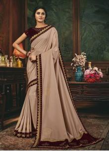 Beige Silk Patch Border Designer Traditional Saree