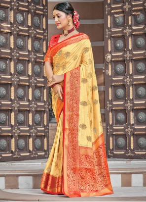 Beige Silk Traditional Saree