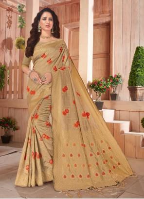 Beige Silk Weaving Classic Saree