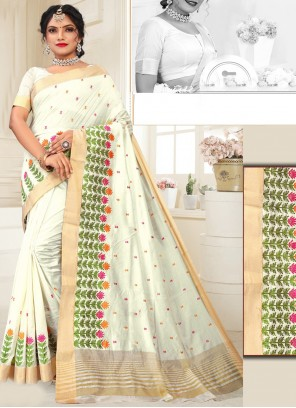 Beige Silk Weaving Designer Traditional Saree