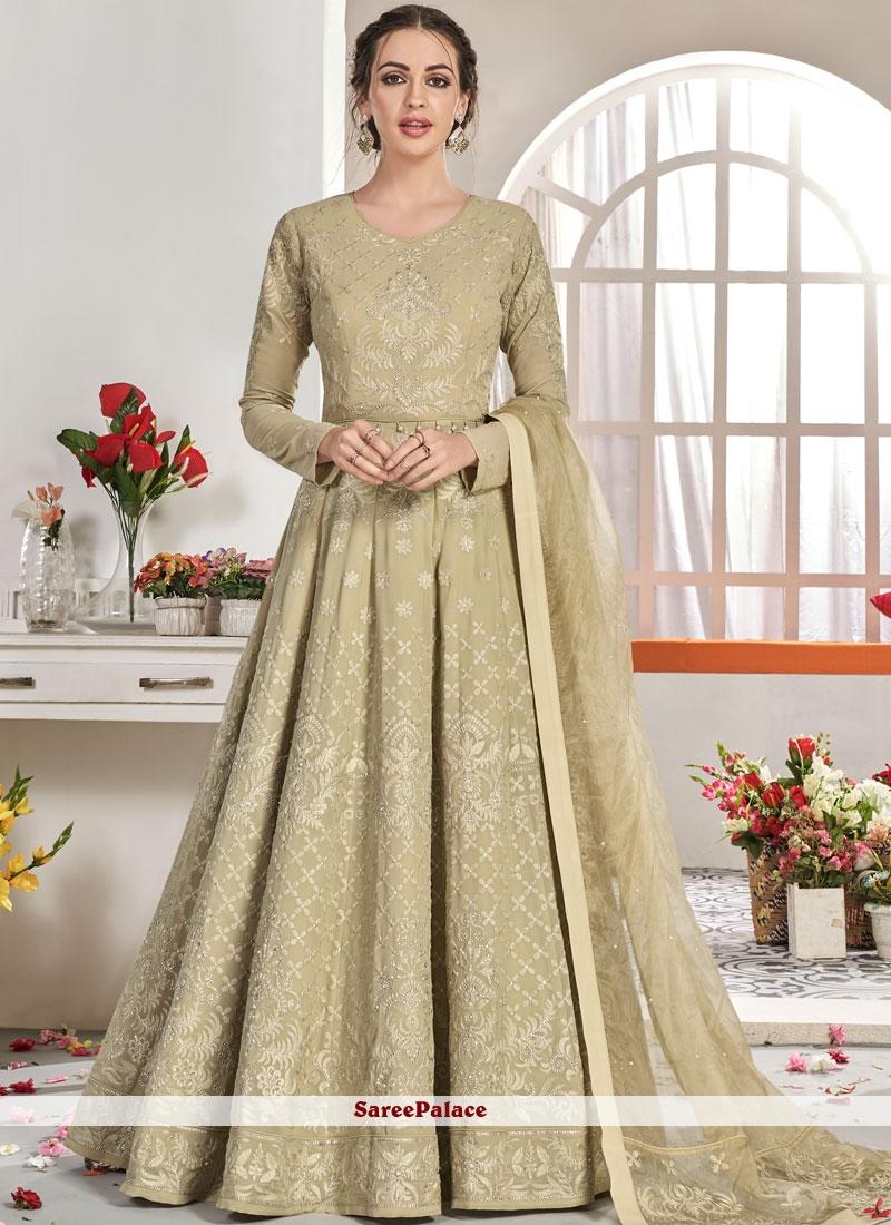 Beige Trendy Anarkali Salwar Suit