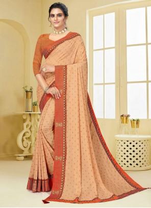 Beige Vichitra Silk Traditional Designer Saree