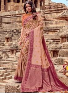 Beige Viscose Traditional Saree