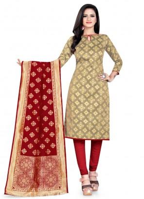 Beige Weaving Banarasi Silk Churidar Salwar Suit