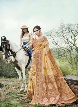 Beige Weaving Banarasi Silk Classic Saree
