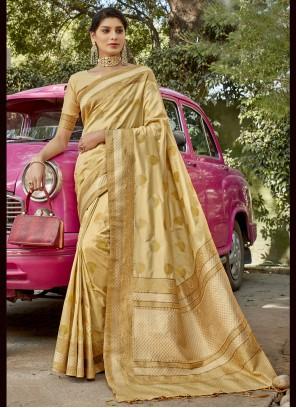 Beige Weaving Banarasi Silk Designer Traditional Saree
