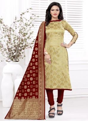 Beige Weaving Churidar Salwar Kameez