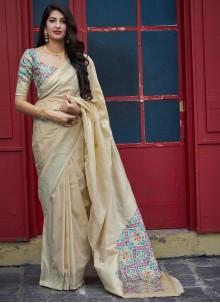 Beige Weaving Classic Designer Saree