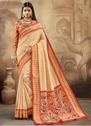 Beige Weaving Classic Saree