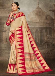 Beige Weaving Contemporary Saree
