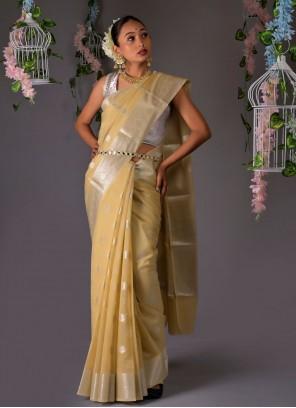 Beige Weaving Designer Traditional Saree