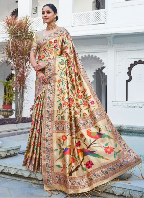 Beige Weaving Sangeet Traditional Designer Saree