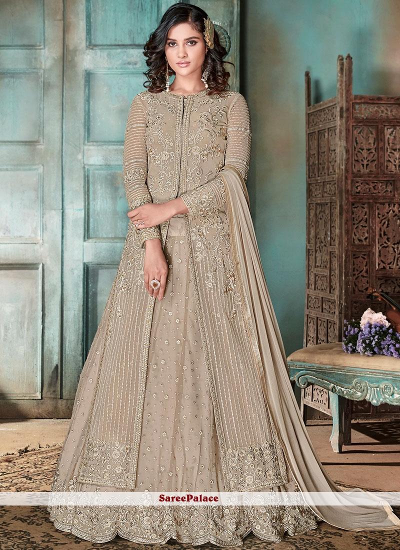 Beige Wedding Net Long Choli Lehenga